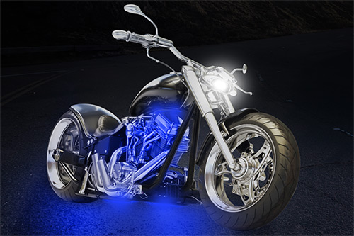 Blue Motorcycle Led Light Kit Illumimoto