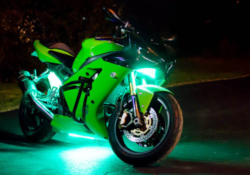 Green Motorcycle Led Light Kit on switch fuse