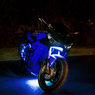 blue motorcycle led lights
