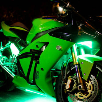 green-motorcycle-lights-installed
